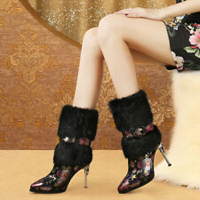 New Winter Women Ladies Faux Fur Pointed Toes High Heels Ankle Boots Super ZX00