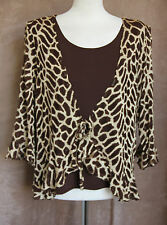 3/4 Sleeve Brown & Gold Jacket & Top Set - Size XXL - Sukhmani