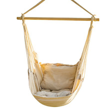 Hanging Rope Hammock Chair Swing Large Brazilian Net Yard Bedroom + 2x Cushions