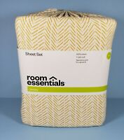 Room Essentials Jersey Full 4 Piece Sheet Set - White & Yellow from Target NEW