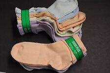 5 Pairs WOMEN'S 9-11 MULTI  COLOR ANKLE BOBBIE T CUFF CASUAL SOCKS Crew STRETCH