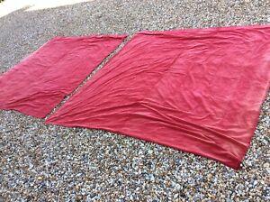 Pair Vintage Red Velvet Unlined Pencil Pleat Curtains 228x230cm