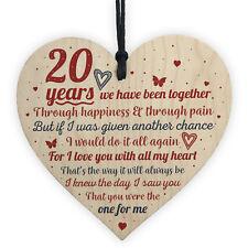 Anniversary 20th Wedding Anniversary Engagement Wood Heart Plaque Gift Keepsake