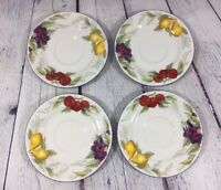 """4 Totally Today Saucers Fruit Design - 6.5"""" / Pear Apple Berry Dishes"""