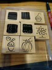 Stampin' Up Wood Mounted Stamp Set Little Layers II Wood on Rubber with box 8 pi
