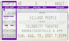 VILLAGE PEOPLE Concert Ticket Aug 9, 2001 Arizona Celebrity Theatre