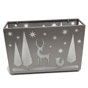 Yankee Candle Tea Light Holder Deer Twilight Forest Tree Silhouette Silver Gray