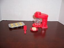 Barbie Kitchen Chef Push Button Mixer Red with Bowl and Accesories