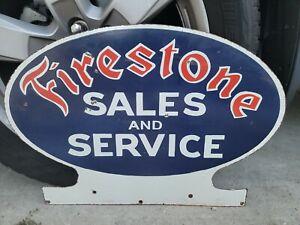Vintage Firestone Tires Sales And Service Dealership Porcelain Sign (Scarce)