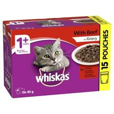 Whiskas Favourites 1+ Years Beef In Gravy Adult Wet Cat Food Pouches 85g 15 pack