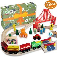 New 55 Wooden Train Track Full Set, Wood Thomas Brio Chuggington Straight Curved