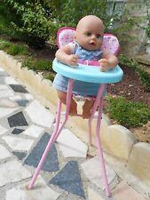 chaise haute compatible avec poupée antonio juan, baby annabell, 45cm