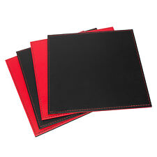 Set of 4 25cm Reversible Flip Red & Black Faux Leather Artisan Square Placemats