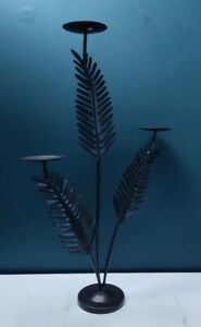 Large Metal Dark Brown Fern Leaf Design 3 Arms Candle Holder