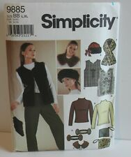 Simplicity Sewing Pattern 9885 Misses Vest Accessories Top Size 18-24