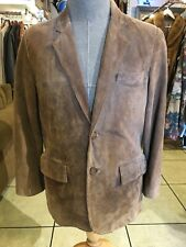 Brown suede leather jacket men's 38 S (#7816)