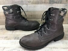 Coconuts Lumber Jack Taupe/Gray Lace Up Stars Combat Ankle Boots Women's sz 8 M