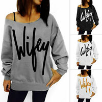 Womens Letter Print Jumper Off Shoulder Tops Pullover T Shirts Sweatshirt Blouse