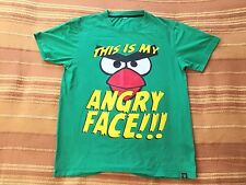 Angry Birds This Is My Angry Face CRWS Green T-Shirt Elastic 95% Cotton 5% Lycra