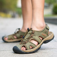 Men Closed Toe Sport Sandals Outdoor Leather Casual Hiking Shoes US 6-12