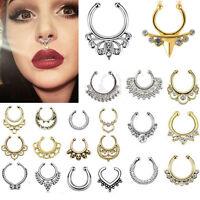 1Set Clip-On Septum Nose Ring Hanger Fake Cheater Non-Piercing Jewellery 11X LJ
