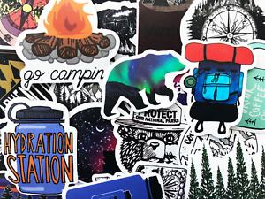 50 Hiking Camping Fishing Outdoor Stickers Decals For Phone Laptop Decoration
