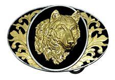 Wolf Head Belt Buckle American Western Themed Black & Gold Authentic Bergamot