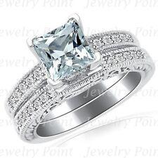 Princess Blue Aquamarine & Diamond Matching Engagement Wedding Ring Set 14k Gold