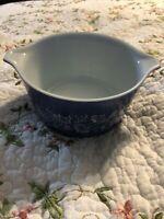 VINTAGE PYREX BLUE FLORAL COLONIAL MIST # 473-B Glass CASSEROLE Bowl 1 Liter
