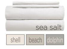 "Crisp, yet with a smooth feel: 18"" pocket split-head Queen sheet set, sea salt."