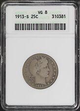 1913-S Barber Silver Quarter ANACS VG-8 -171795