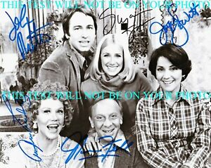 THREE'S COMPANY FULL CAST AUTOGRAPHED 8x10 RP PHOTO JOHN RITTER SOMERS THREES 3s