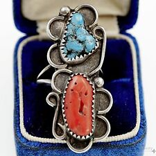 Antique Vintage Native Pawn Navajo Sterling Silver Turquoise Coral Ring Sz 5.5