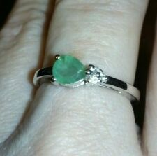 ~ 100% GENUINE Zambian Emerald & White Topaz Sterling Silver Ring 0.55cts