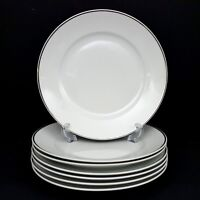 Rosenthal 3471 Aida 7 Dinner Plates White Platinum Band 10 in Great Cond Vintage