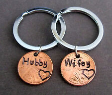 Personalized Couple Keychain, Hubby Wifey KeyChain, Wedding gift for newly weds