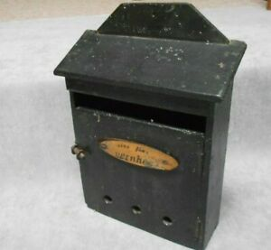Vintage French Black wooden wall Letter Mailbox