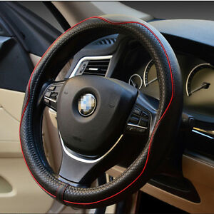Universal 38cm 100% Real Cowhide Genuine Leather Auto Car Steering Wheel Cover