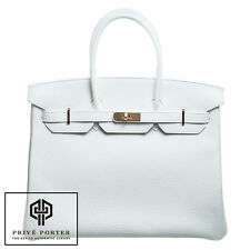 WHITE BIRKIN 35CM HERMES CLEMENCE LEATHER BAG GOLD GHW BNIB