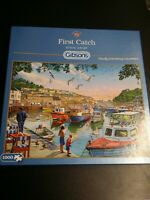 GIBSONS 1000 PIECE JIGSAW PUZZLE 'FIRST CATCH' LOVELY FISHING SCENE, COMPLETE!