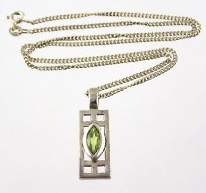 Kit Heath 1998 Sterling Silver Peridot Bar Pendant Necklace KH98 925 Italy Chain