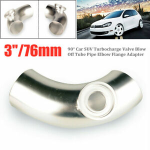 "3""/76mm Universal Car Turbocharge Valve Blow Off Tube Pipe Elbow Flange Adapter"