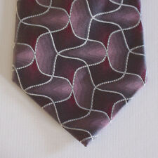 NEW Crazy Horse Silk Neck Tie Pink with Silver Gray Wavy Pattern 1595