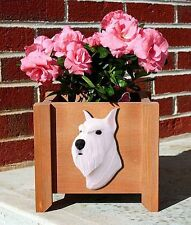 Schnauzer Planter Flower Pot Standard White