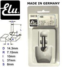 ELU E45118 HSS TWO FLUTE RADIUS ROUTER BIT CUTTERS - 8MM SHANK - D.14.3MM