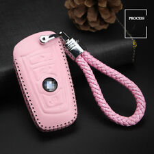 For BMW Series Genuine leather car key case holder cover remote fob Pink Color