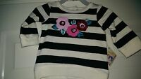 Garanimals NWT Girls Black White Pink Striped Floral Shirt Top Size 0 to 3 Month