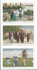 3 Postcards VOLENDAM Holland Netherlands Dutch Harbor Boats Windmill yoked girls