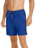 """Tommy Hilfiger Mens Designer 7"""" Solid Board Shorts Swim Trunks Blue Size M or L"""