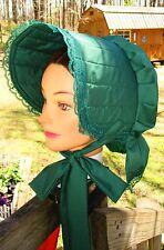 Civil War Dress Victorian Accessories Lady'S Hunter Green Cotton Slat~Sun Bonnet